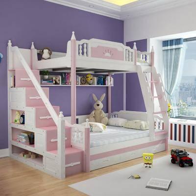 双层床, 小孩房, 北欧小孩房3d模型, 床具组合, 玩具, 摆件组合