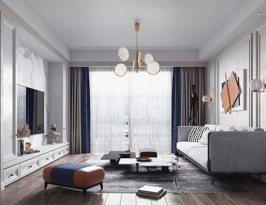 现代客餐厅, 客厅, 餐厅, 沙发组合, 沙发茶几组合, 餐桌椅组合, 吊灯组合, 墙饰组合, 摆件组合
