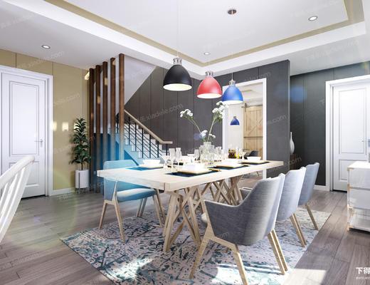 整套家装, 客厅, 餐厅, 沙发组合, 桌椅组合, 沙发茶几组合