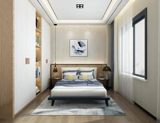 卧室, 床具组合, 床头柜, 现代卧室, 新中式卧室, 挂画, 衣柜, 衣服, 现代, 新中式