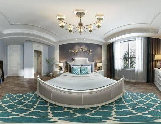 臥室, 全景圖, 簡美臥室全景3d模型, 床具組合, 擺件組合, 邊柜