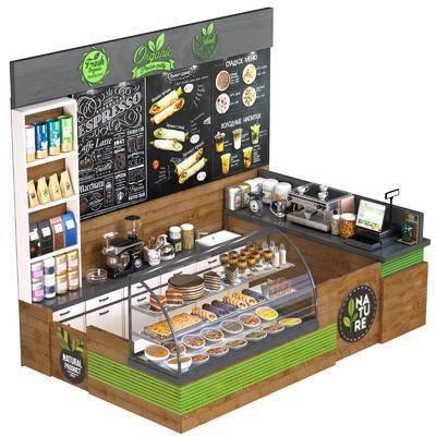 收银台, 食物架, 食品, 面包, 食物蛋糕, 蛋糕甜点, 甜点组合, 咖啡机, 咖啡厅柜台, 现代