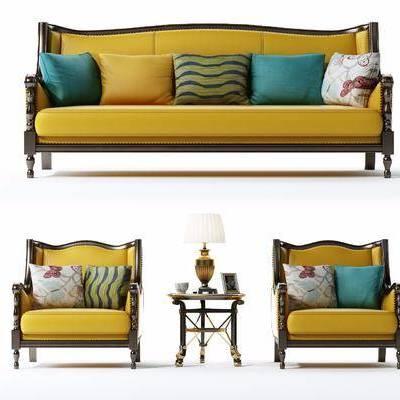 沙发组合, 美式, 椅子, 布艺沙发, 台灯