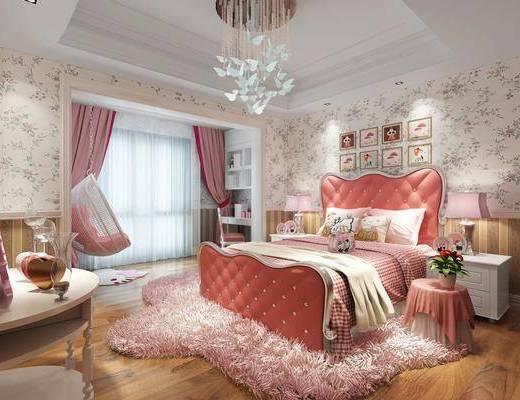 儿童房, 女儿房, 简欧儿童房, 床具组合, 双人床, 壁纸, 吊灯, 摇椅, 地毯, 床头柜, 简欧