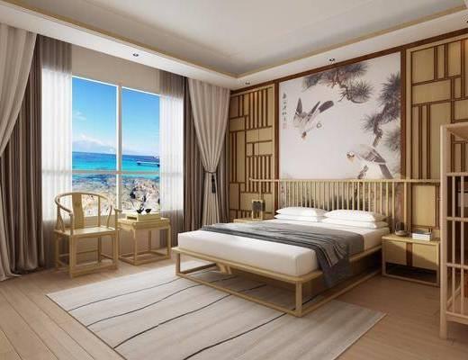 新中式, 卧室, 床具, 双人床, 单椅, 案几, 摆件, 盆栽, 植物, 新中式卧室