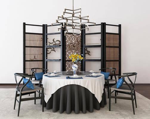 餐桌椅组合, 桌椅组合, 餐具, 吊灯, 屏风, 中式