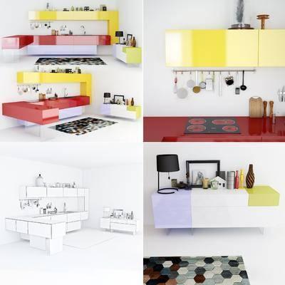 橱柜, 边柜, 相框, 小饰品, 地毯, 餐具, 厨具, 台灯, 现代