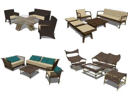 藤椅, 茶几, 桌椅组合