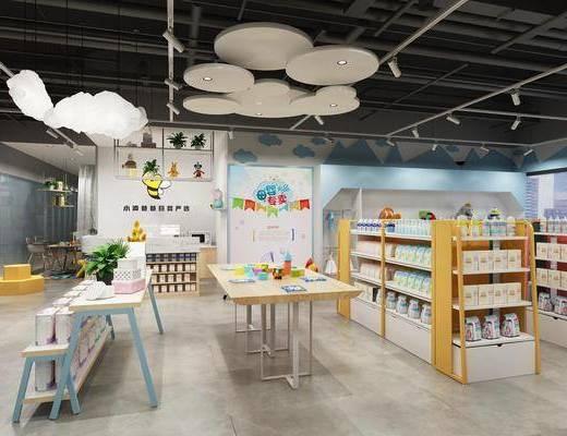母婴店, 装饰架, 前台, 桌子, 单人椅, 摆件, 奶粉, 装饰品, 陈设品, 吊灯, 现代