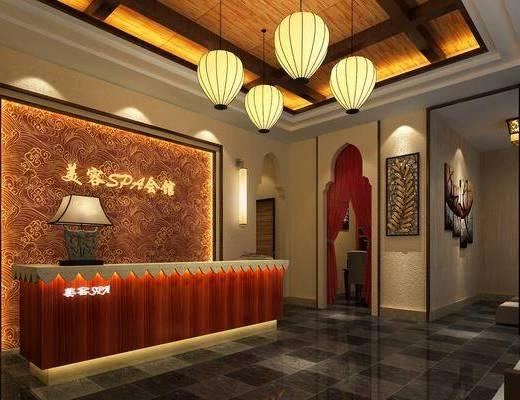 桑拿房, 吊灯, 前台, 装饰画, 接待区