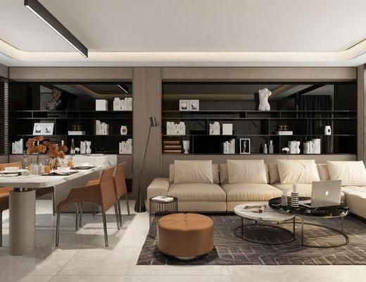 沙发组合, 茶几, 摆件组合, 餐桌, 餐具组合, 地毯