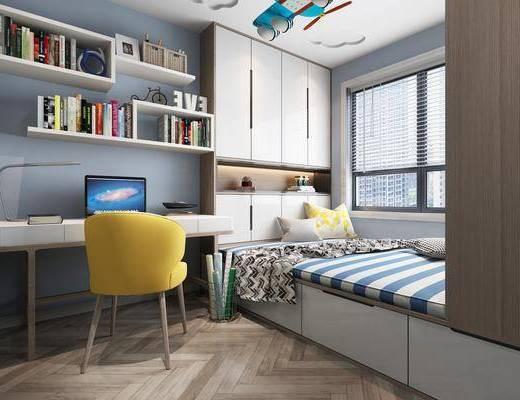 男孩房, 卧室, 榻榻米, 单人椅, 电脑桌, 书柜, 书籍, 台灯, 摆件, 装饰品, 陈设品, 现代