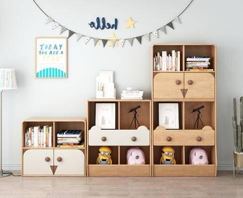 儿童书柜, 书柜书籍, 摆件组合, 玩偶组合, 北欧