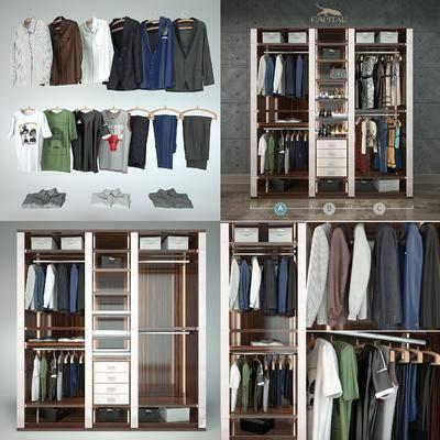 现代衣柜, 现代, 衣柜, 衣服, 衣架