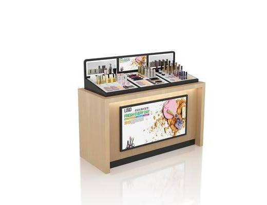 中島前柜, 商場專柜, 彩妝架, 產品陳列, 木紋貨柜, 現代