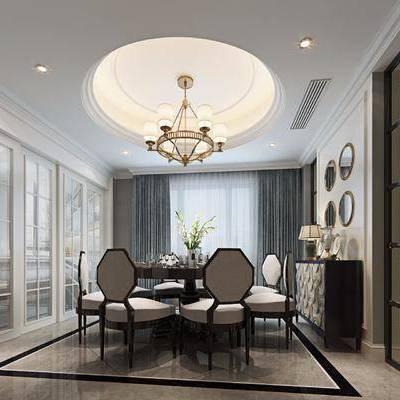 新中式餐厅, 新中式, 餐桌椅, 吊灯, 边柜, 花瓶, 推拉门