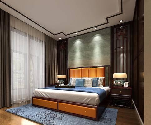卧室, 床, 中式卧室, 床头柜, 台灯, 地毯
