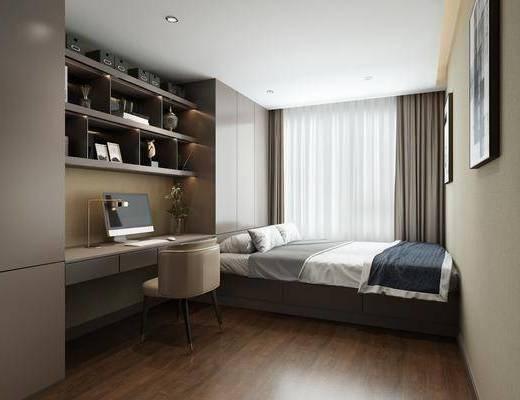 卧室, 双人床, 桌子, 单人椅, 装饰画, 挂画, 台灯, 装饰柜, 摆件, 装饰品, 陈设品, 柜子组合, 书桌, 北欧