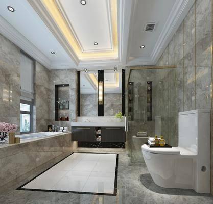 卫生间, 洗手台, 马桶, 浴缸, 花洒, 壁灯, 装饰镜, 装饰品, 陈设品, 摆件, 现代