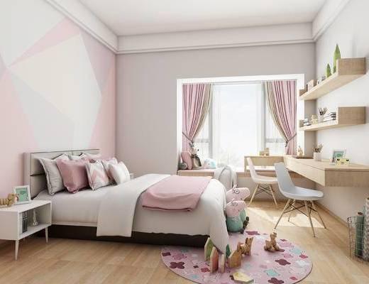 北欧卧室, 现代卧室, 双人床组合, 书桌, 置物架, 窗帘, 女孩房