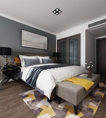 现代卧室, 卧室, 床, 脚踏, 装饰画, 床头柜, 推拉门
