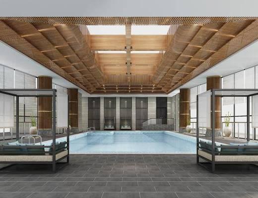 游泳池, 沙发, 抱枕, 水池, 瓷器, 植物, 新中式, 设备