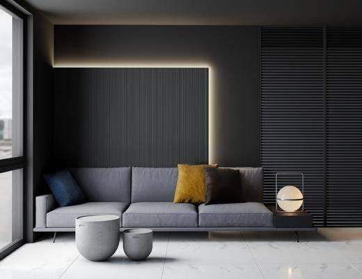 现代沙发茶几组合, 沙发组合, 现代沙发组合, 多人沙发