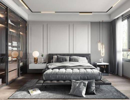双人床, 床具组合, 床头柜, 吊灯, 衣柜