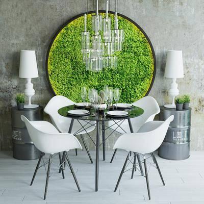 餐桌, 餐椅, 单人椅, 圆桌, 边几, 台灯, 植物墙, 吊灯, 工业风