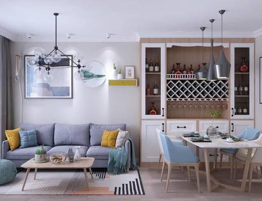北欧客餐厅, 北欧客厅, 北欧餐厅, 北欧沙发, 沙发组合, 餐桌椅