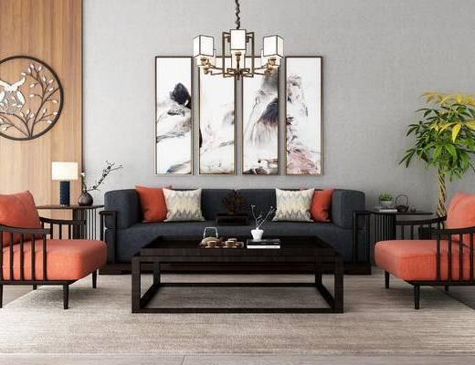 新中式, 沙发组合, 多人沙发, 沙发茶几组合, 装饰画, 挂画, 盆栽, 吊灯, 边几, 台灯