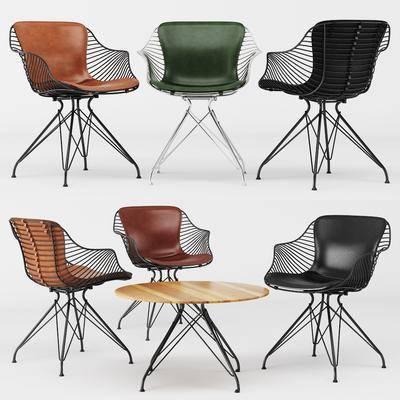桌椅组合, 单人椅, 桌子, 休闲椅, 现代