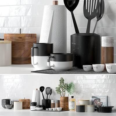 厨具, 餐具, 碗杯碟, 多肉盆栽, 陶瓷, 砖墙, 瓷砖, 现代, 厨房, 厨房用品