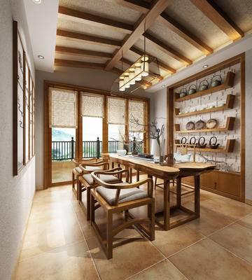 新中式书房, 新中式茶室, 书房, 茶室