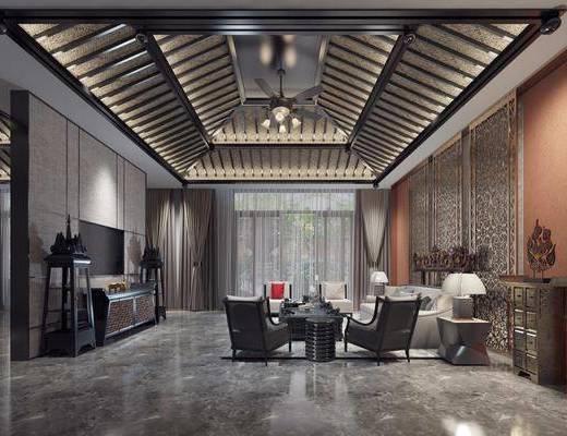 客厅, 多人沙发, 边几, 台灯, 茶几, 单人沙发, 电视柜, 边柜, 案几, 摆件, 装饰品, 陈设品, 东南亚