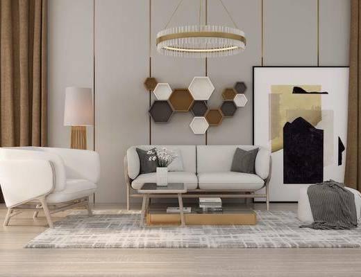 沙发组合, 沙发茶几组合, 墙饰, 吊灯, 现代