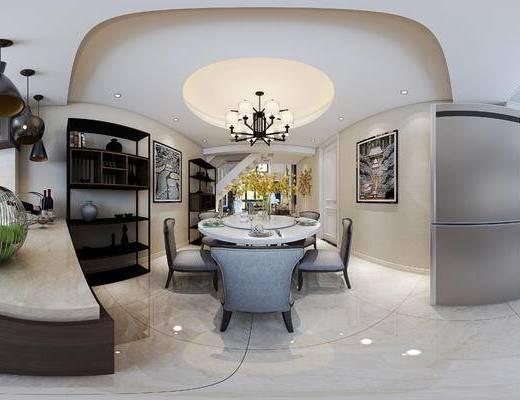 餐厅, 厨房, 全景图, 现代餐厅厨房, 桌椅组合, 花瓶花卉, 摆件组合, 餐具, 橱柜, 置物架, 现代