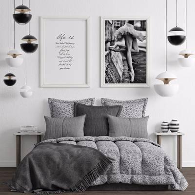 双人床, 挂画, 现代