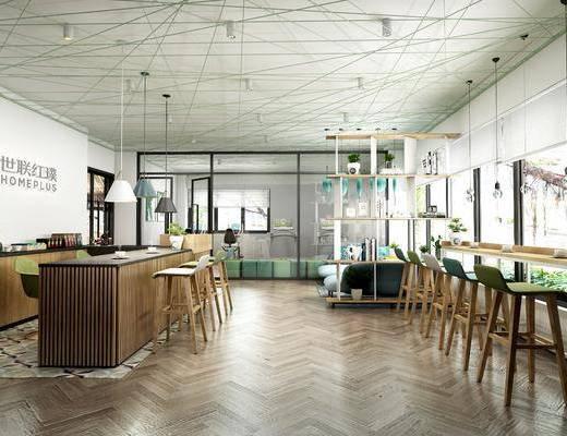 奶茶店, 甜品店, 吧台, 吧椅, 单人椅, 吊灯, 装饰架, 盆栽, 书籍, 摆件, 装饰品, 陈设品, 现代