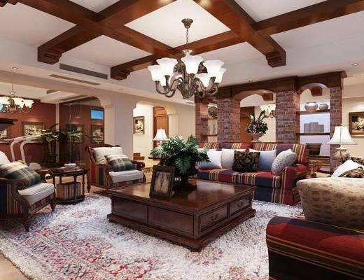 沙发组合, 吊灯, 茶几, 酒柜, 壁炉, 壁灯