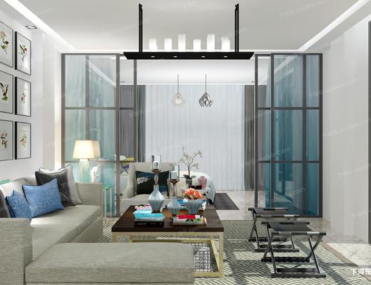 客厅, 沙发茶几组合, 沙发组合, 卧室, 床具, 吊灯