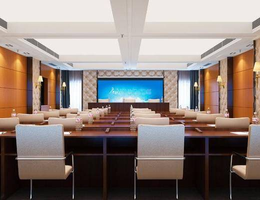 会议室, 单椅, 屏幕, 壁灯