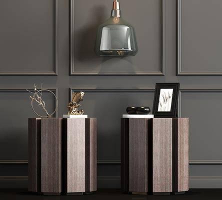 新中式, 实木, 皮革, 床头柜