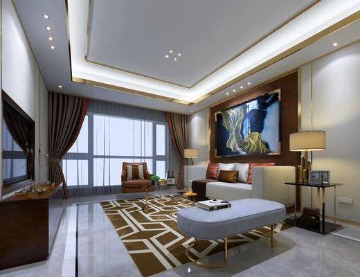 客厅, 多人沙发, 边几, 台灯, 装饰画, 挂画, 单人沙发, 茶几, 躺椅, 电视柜, 装饰柜, 边柜, 现代