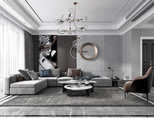 沙发组合, 餐桌, 电视柜, 吊灯, 装饰画