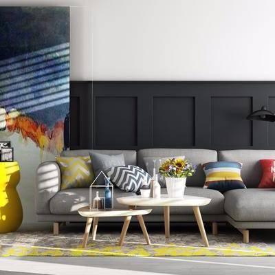 沙发组合, 多人沙发, 茶几, 边几, 落地灯, 装饰画, 壁灯, 盆栽, 摆件, 装饰品, 北欧