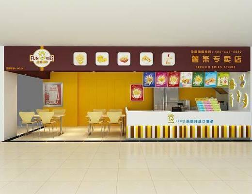 专卖店, 薯条店, 现代, 桌子, 椅子, 单椅, 门头, 展示牌, 冰箱
