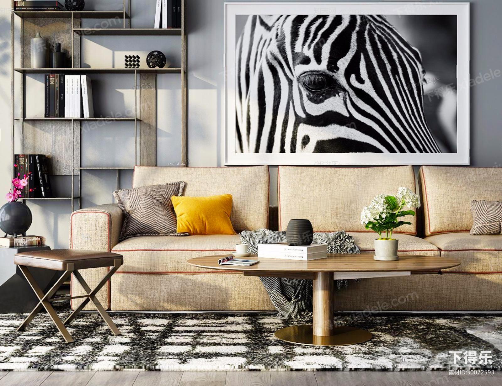 北欧浅黄色沙发,茶几,挂画组合_3d模型下载__3d模型