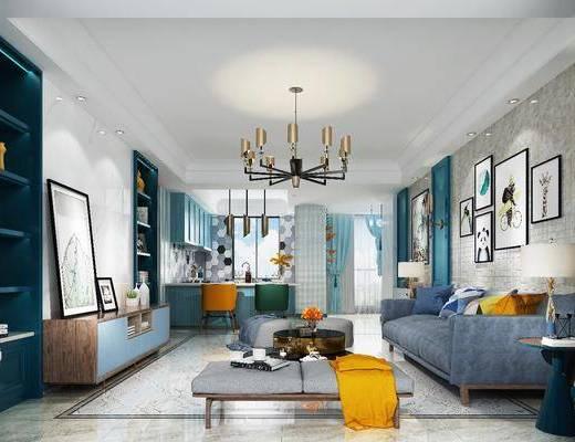 客厅, 多人沙发, 茶几, 躺椅, 装饰画, 挂画, 电视柜, 装饰柜, 边柜, 照片墙, 吊灯, 厨房, 橱柜, 厨具, 单人椅, 壁灯, 现代