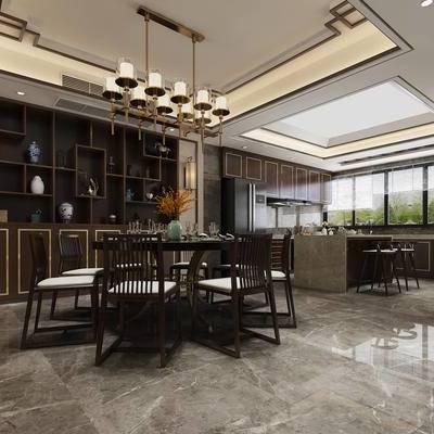 厨房, 餐厅, 新中式, 中式, 餐桌椅, 吧椅, 吧凳, 吊灯, 置物柜, 装饰柜, 陈设品, 桌子, 椅子, 单椅, 花瓶